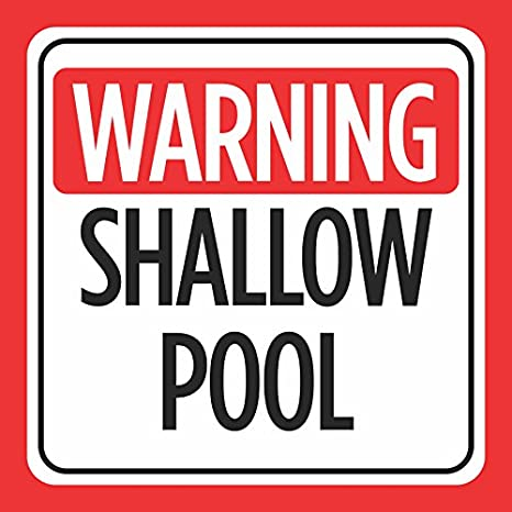 e57d597ecd8a Amazon.com   2 Pack - Warning Shallow Pool Print Red White Black Caution  Notice Swim Swimming Pools Hot Tub Safety Signs Co