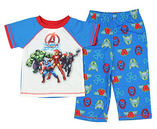 Marvel Little Boys 2-Piece The Avengers Pajama Set 3T Blue, Red & White