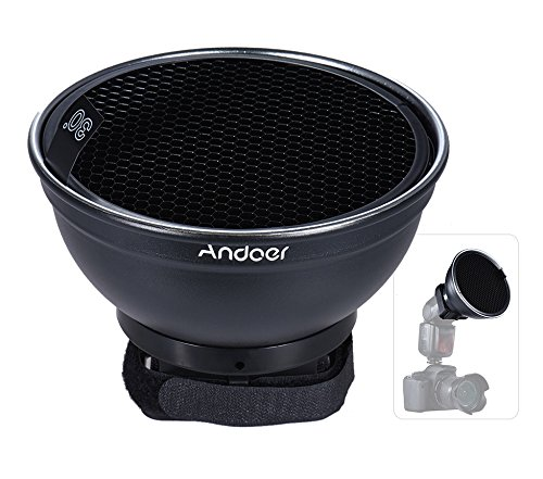 Andoer 5.9Inch (15cm) Silver Beauty Dish Diffuser w/ 30 Degree Honeycomb for Neewer Canon Nikon Yongnuo Godox Meike Vivitar Photography On-camera Flash Speedlite Speedlight by Andoer