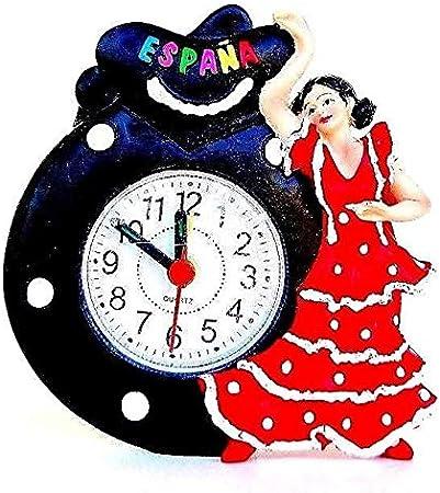 Genérico Despertador Matin Pendulette Figura Bailarina Flamenca Vestido Rojo Castagnette Negro Flamenco España: Amazon.es: Hogar