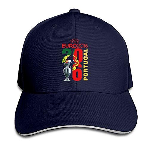 Ogbcom UEFA Euro 2016 Champion Portugal Adjustable Sandwich Peaked Baseball Cap/Hat For -