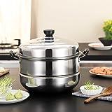 Nadalan Stainless Steel Stack Steam Pot Set Saucepot Double Boiler Cookware Pot 2 Tier (32cm)