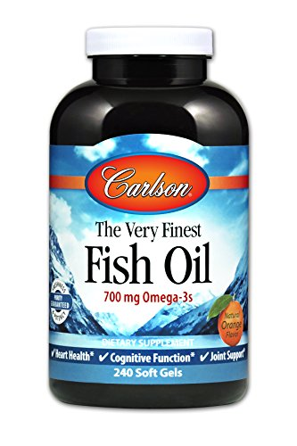 Finest Natural Fish Oil - Carlson Norwegian The Very Finest Fish Oil, Orange, 700 mg Omega-3s, 240 Soft Gels