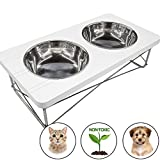 Easyology Stainless Steel Elevated Feeder Bowls for Cats & Small Dogs (White)
