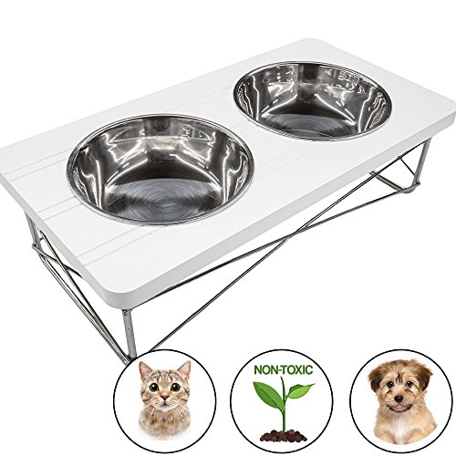 Easyology Stainless Steel Elevated Feeder Bowls for Cats and Small Dogs, White - Elevated Feeding Tray