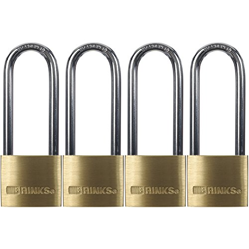 "Price comparison product image Brinks 171-42401 40mm Solid Brass Padlock with 2-1/2"" Shackle, 4 Pack"