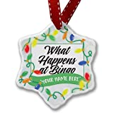Personalized Name Christmas Ornament, Vintage Lettering What Happens at Bingo NEONBLOND