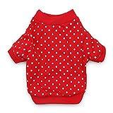 DroolingDog Pet Dog Shirts Polka Dots Xmas Tee Shirt Puppy Clothes for Small Dogs, Small