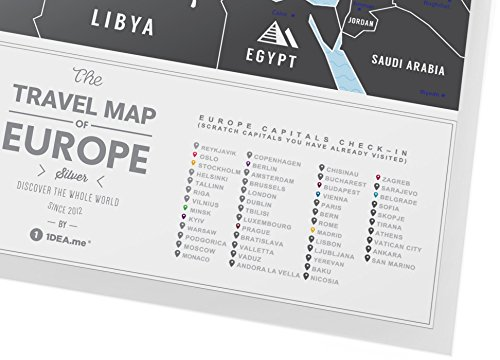 Scratch Off Europe Travel Map: 1DEA.me Scratchable Poster - Interactive Modern Geography Maps, Travel Tracker & Wall Art Decor for Kids & Adults - Made from Durable Flexible Plastic to Last Longer Photo #5
