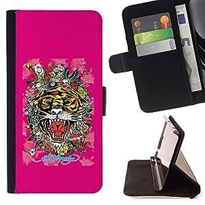 Momo Phone Case / Flip Funda de Cuero Case Cover - Tiger dipinto Natura Africa Animale - LG G4c Curve H522Y (G4 MINI), NOT FOR LG G4