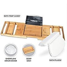 Milliard Ultimate Bath Spa Kit, includes Bamboo Bath Caddy tray, Suction Bath Pillow & Overflow Bathtub Drain Cover Set