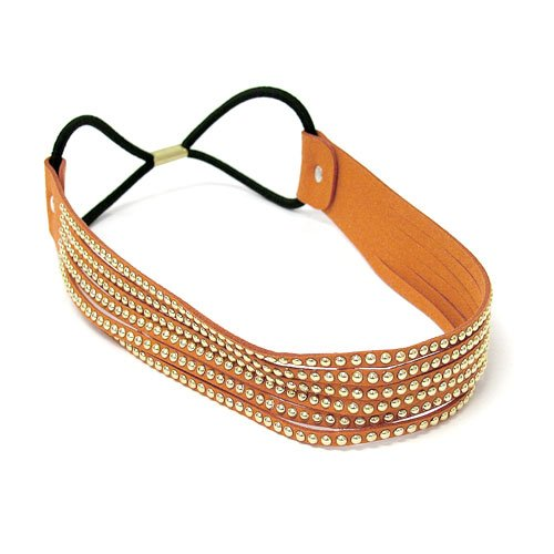 Fashion Jewelry ~ Orange Gold Studs Stretch Head Band (Style Hair 238f 16)