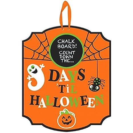 Amscan Medium Halloween Countdown Chalkboard Sign Trick or Treat Party Hanging Decoration, Orange Ghost Spider Pumpkin