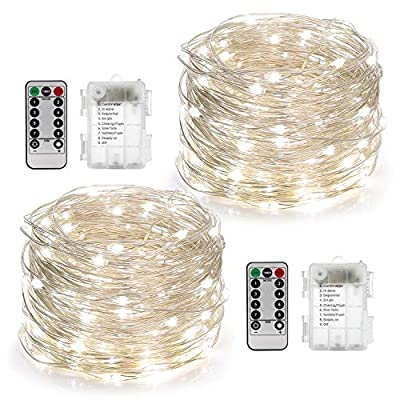 YIHONG 2 Set String Lights 8 Modes 50LED Fairy Lights Battery Operated 16.4FT Twinkle Firefly Lights with Remote Timer for Bedroom Patio Garden Wedding Party Christmas Indoor Decor- White