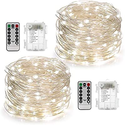 YIHONG 2 Set Fairy Lights Battery Operated 50LED String Lights Remote Control Timer Twinkle String