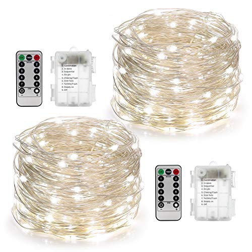 YIHONG 2 Set Fairy Lights Battery Operated 50LED String Lights Remote Control Timer Twinkle String Lights 8 Modes 16.4 Feet Silver Wire Firefly Lights --White -