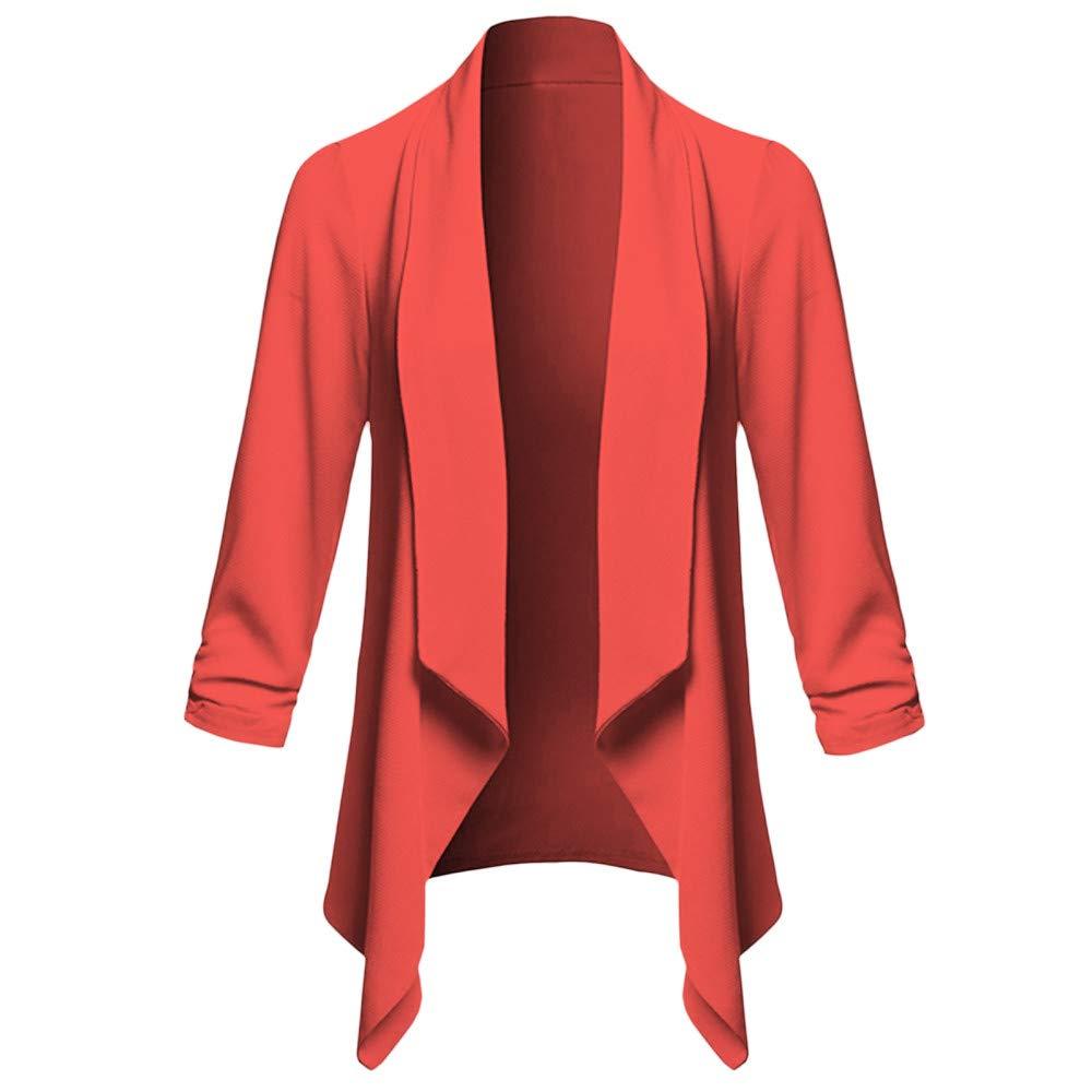 vpass Womens Loose Solid Open Front Cardigan Long Sleeve Coat Plain Blazer Casual Irregular Jacket Slim Fit Elegant Outerwear