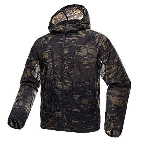 (FREE SOLDIER Men's Tactical Jacket Lightweight Wind Breaker Jacket Water-Resistant Breathable Hiking Cycling Jacket (Dark Camo, XXL))