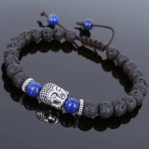 Men and Women Adjustable Braided Bracelet Handmade with Lava Rock, Lapis Lazuli and No Lead & Nickle Tibetan Silver Sakyamuni Buddha & Spacers T226