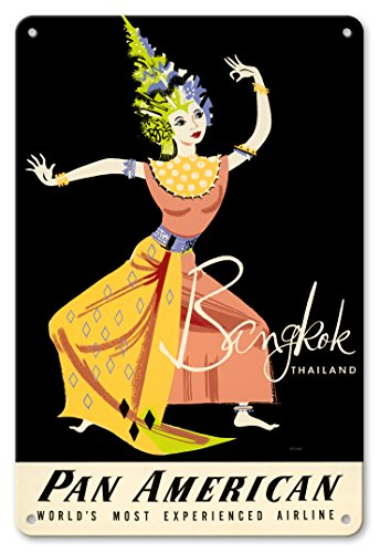 Pacifica Island Art 8in x 12in Vintage Tin Sign - Bangkok, Thailand - Pan American World Airways - Thai Woman Classical Dancer by A. Amspoker