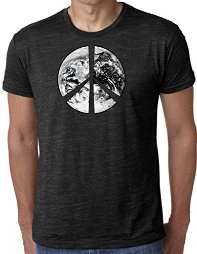 Yoga Clothing For You Mens Peace Earth Burnout Tee Shirt, 2XL Black