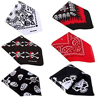 HDE 6-Pack of Assorted 100% Cotton Bandana Handkerchief Head Wraps Doo Rag