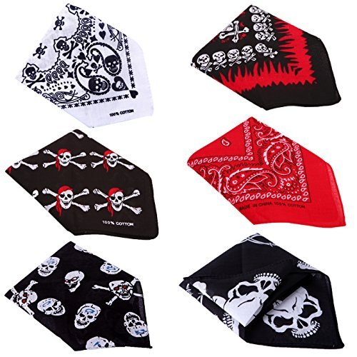 HDE 6-Pack of Assorted 100% Cotton Bandana Handkerchief Head Wraps Doo Rag -