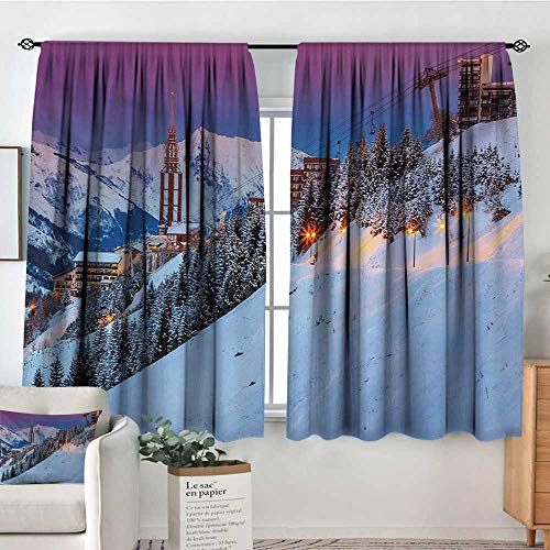 Winter Waterproof Window Curtain Majestic Winter Sunrise Landscape and Ski Resort Spruce Pine Forest French Alps Customized Curtains 72