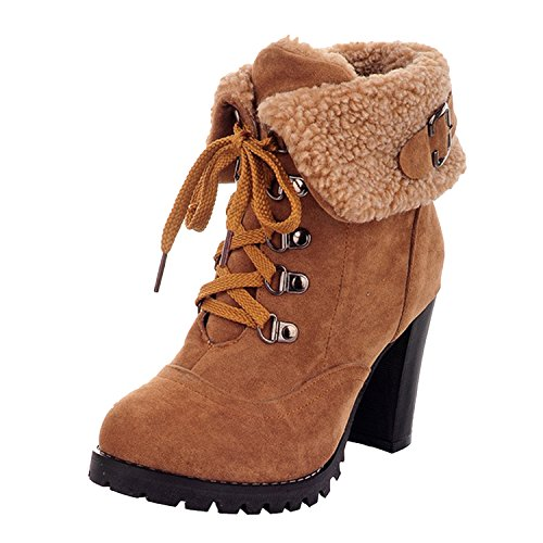 Nonbrand Women's Block Heel Synthetic Ankle Boots Camel