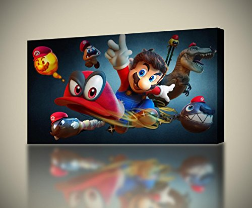 Odyssey 110 Wall (Super Mario Odyssey CANVAS PRINT Home Wall Decor Giclee Art Poster Kids CA1009, Large)