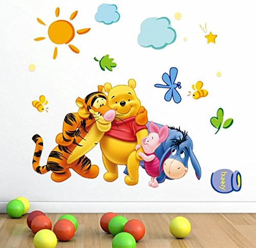 Winnie The Pooh Friends Cartoon Wall Stickers Kids Rooms Decals - Pooh Wall