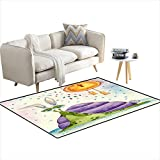 """Anti Skid Rugs Snail in a Bunny Costume Hanpaintewatercolor Illustration 40""""x58"""""""