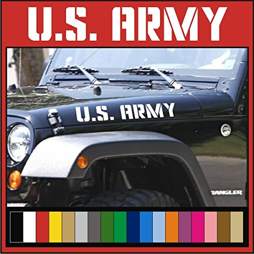 Us Army Jeep - US ARMY Jeep Hood Decals | Vinyl Stickers | Wrangler Rubicon 4x4 USA U.S. CJ TJ YK JK XJ (Matte Black)