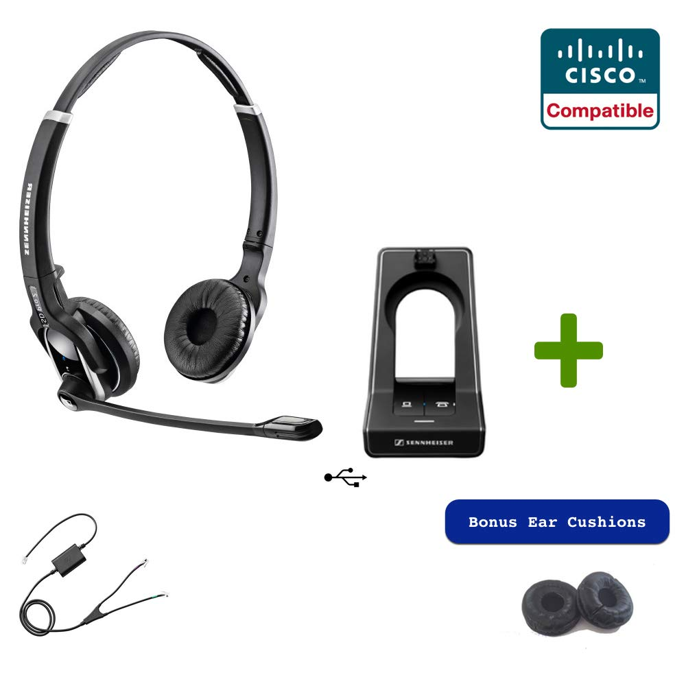 Sennheiser SD PRO2 - Stereo (Duo) Deskphone Cordless Headset with Cisco EHS Adapter | Compatible Cisco Models: 8900 and 9900 Series | Bonus Cushions Included