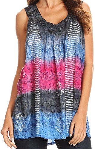 Dip Dye Floral Print Tank With Sequins and Embroidery - Black/Pink - OS (Dip Dyed Denim)