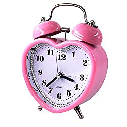 DONEE Alarm Clock for Kids And Heavy Sleepers, 3 Twin Bell Silent Non Ticking Bedside Desk Analog Quartz Movement Cute Alarm Clock With Nightlight and Loud Alarm. (Heart of Pink)