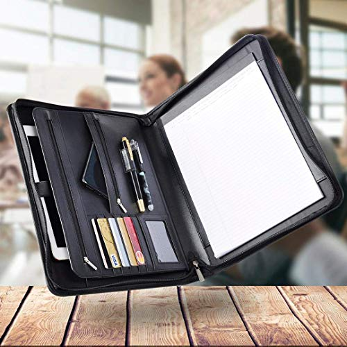 darylldeal Zippered Padfolio Legal Pad Portfolio Professional Interview Tablet Case Black Credit Business Card Phone Pockets Document A4 Includes Notepad Leatherette