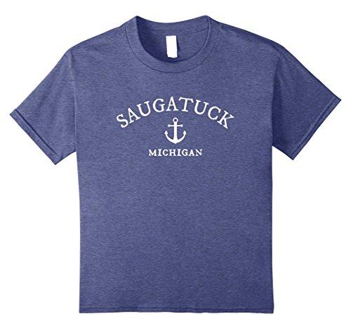 Price comparison product image Kids Saugatuck Michigan T-Shirt, MI Lake Town Shirt 8 Heather Blue