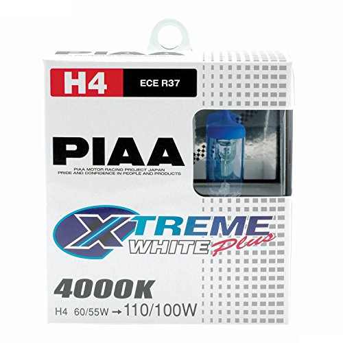 PIAA 15224 H4 (9003 / HB2) Xtreme White Plus High Performance Halogen Bulb, (Pack of 2)