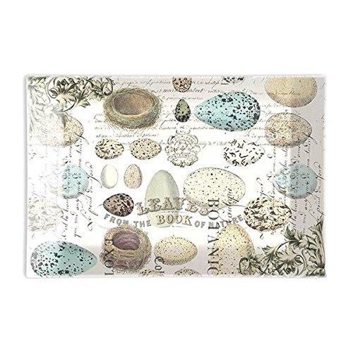 Michel Design Works Rectangular Glass Soap Dish, Nest & Eggs,