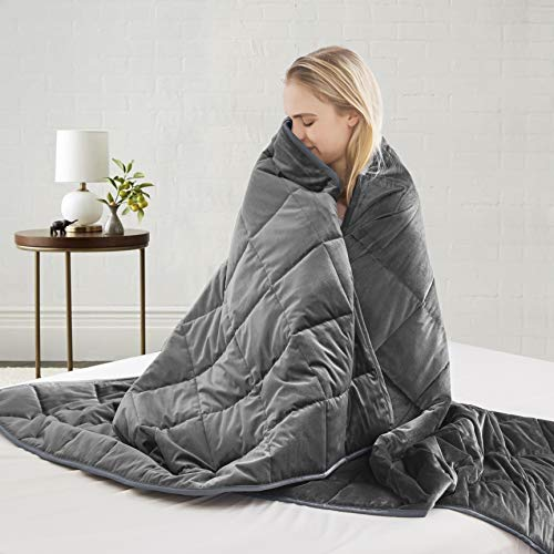 Cheap SNOWMAN Weighted Blanket 12 lbs for Adults About 110-130 lbs 48x72 Inches - Premium 100% Cotton with Glass Beads Bed Blanket Dark Grey Black Friday & Cyber Monday 2019