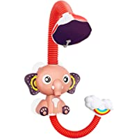TOYANDONA Cartoon Baby Bath Shower Head Elephant Electric Spray Water Sprinkler Toy for Home Toddler Baby Bathroom Without Battery Red
