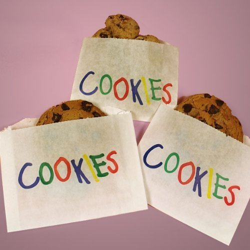 (Ship From USA) 50 Ct Printed Cookie Wax Glassine Paper Bag Bags Cookies Baked Goods 4.5