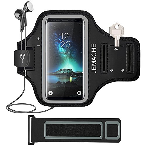 Galaxy S9/S8/S7 Edge Armband, JEMACHE Gym Run/Jog/Exercise Workout Arm Band for Samsung Galaxy S6/S7 Edge, Galaxy S8/S9 Fits Otterbox Defender, Lifeproof Case (Black) by JEMACHE
