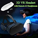 Virtual Reality Headset/Glasses, TSANGLIGHT 3D VR Headset with Remote and Headphones [Newest] for 3D Movie Game for iPhone 8 7 Plus 5 Samsung S8 S7 & Other Cellphones - Virtual Reality Goggles, Black