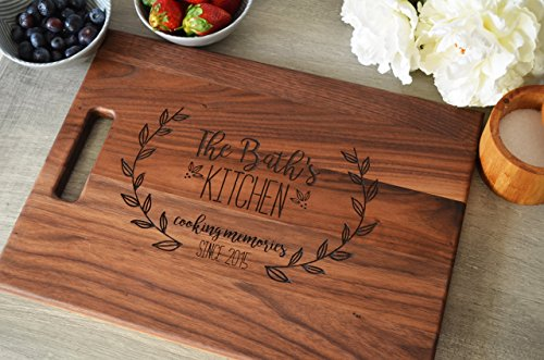 - Personalized Wood Cutting Board with Floral Wreath Design