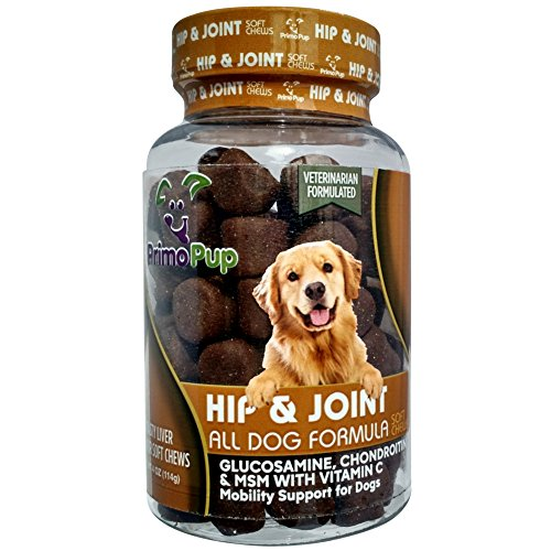 Primo Pup Vet Health Hip & Joint Supplement | With Glucosamine, Chondroitin & MSM | Enhances Joint Health for Dogs | Supports Cartilage & Connective Tissue | Veterinarian Developed | 60 Soft Chews