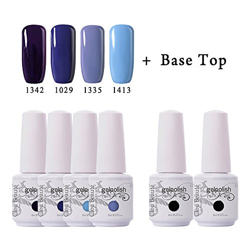 Clou Beaute Soak Off UV Led Nail Gel Polish Kit Varnish Nail Art Manicure Salon Collection Set of 4 Colors with 1 Top Coat and 1 Base Coat 8ml 004