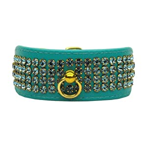 Mirage Pet Products 631-6 AQ18 White Bow Widget Aqua Dog Collar, XX-Large Click on image for further info.