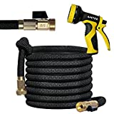 AMYER Garden Hose Expandable Garden Hose with Strong Flexible Latex Hose Core and Solid Brass Connector, 50 FT Garden Hose with 9 Function Spray Nozzle (Strong Pressure & Upgrade Version)